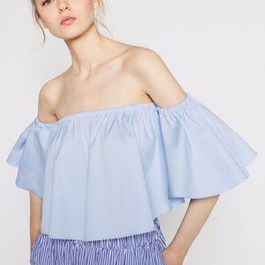 Zara ruffle sleeve crop top